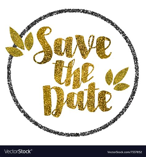 save the date images save the date golden glitter wedding invitation vector image