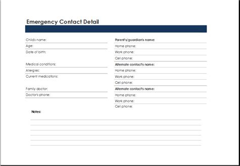 emergency contacts template printable excel emergency contact list template excel