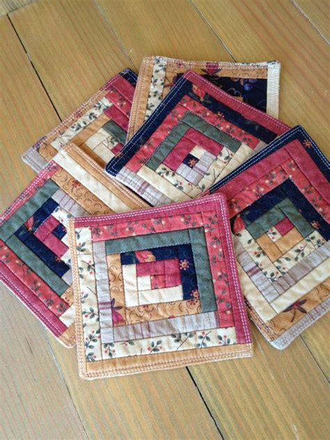 Patchwork Cabin - autumn log cabin quilted patchwork coasters set of 6