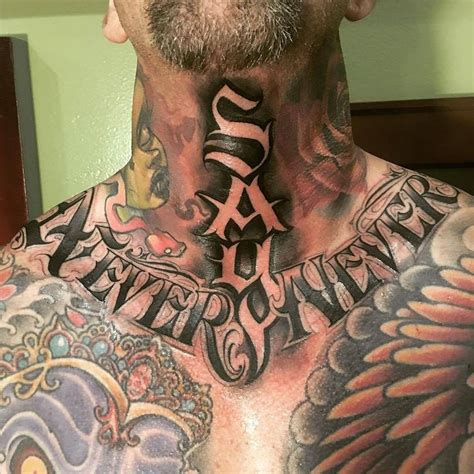 neck tattoo designs men never say never by orks tattoos in los angeles ca