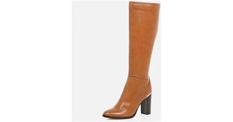 river island light brown leather knee high heeled boots in