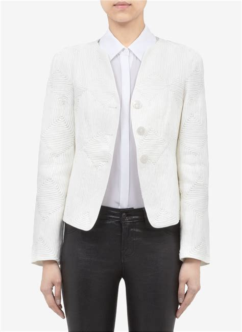 White Embroidered Jacket armani embroidered jacket in white lyst