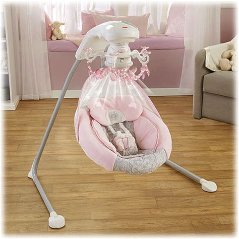 pink baby swing with canopy two swinging motions to help soothe baby traditional head