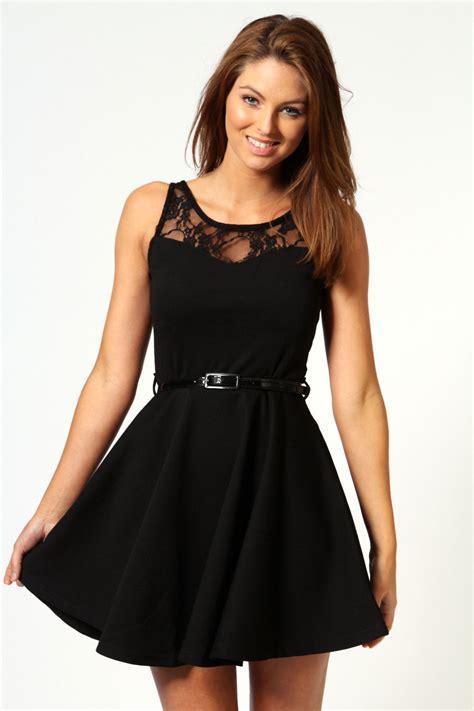 lace top belted skater dress black black