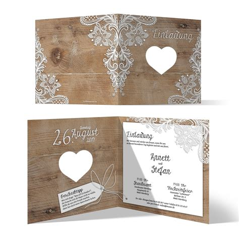 Hochzeit Einladungskarten Spitze by Lasergeschnittene Hochzeit Einladungskarten Rustikal Mit