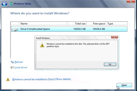 format gpt style windows cannot be installed on to this disk the selected