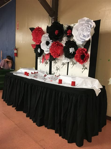 paper flower backdrop red white  black flowers party