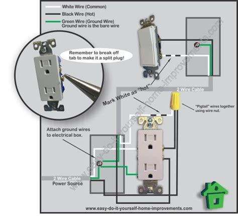 wiring diagram for switch controlled outlet wall outlet
