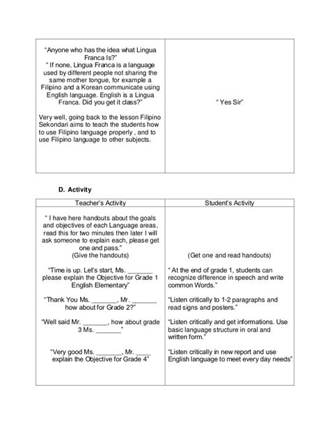 detailed lesson plan template sle detailed lesson plan in circulatory system