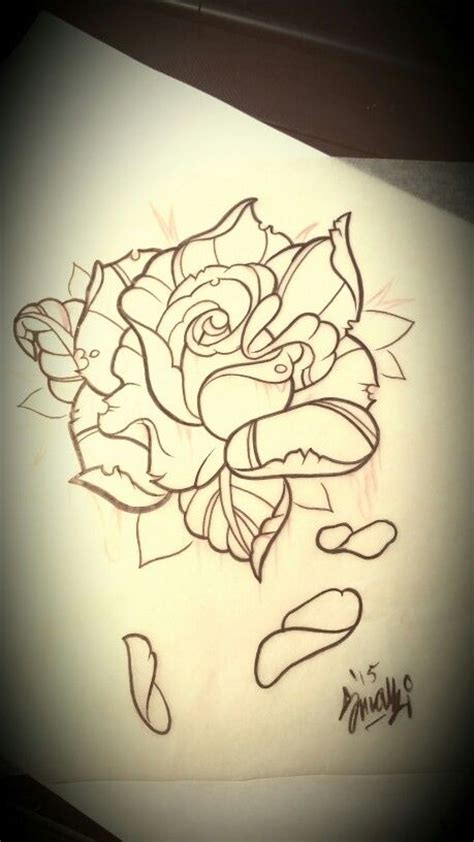 neo traditional rose tattoo design my artwork