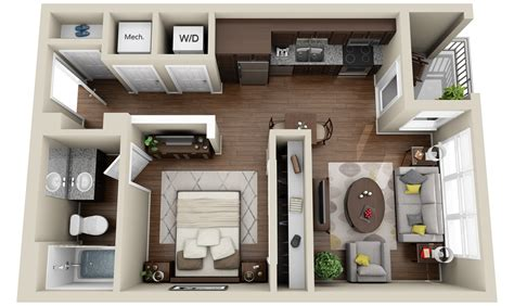 1 Room Floor Plans 3d - 2 apartments and condos 171 3dplans