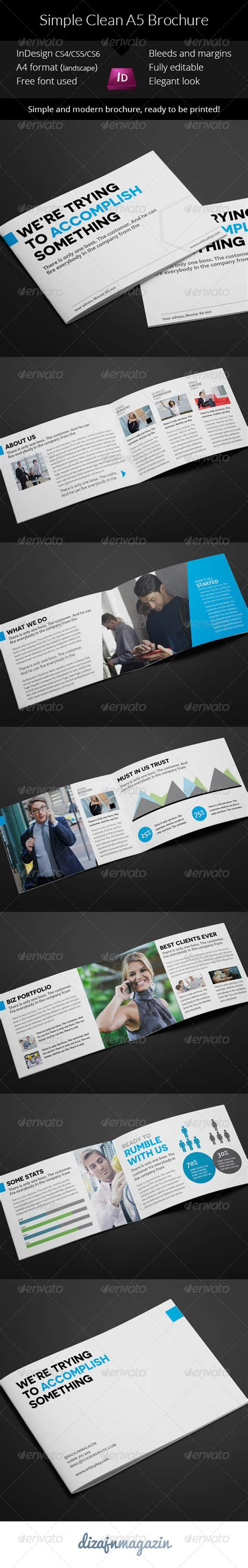 Simple Clean A5 Brochure Indesign Template By Vrbic Graphicriver A5 Brochure Template Indesign