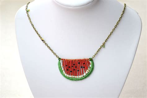 how to make seed bead jewelry seed bead watermelon necklace