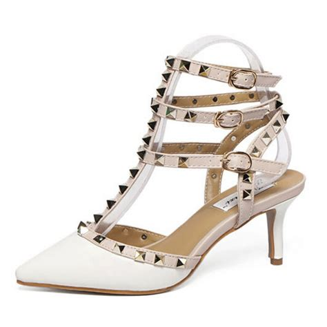 Sandal Studed white patent strappy studded sandals