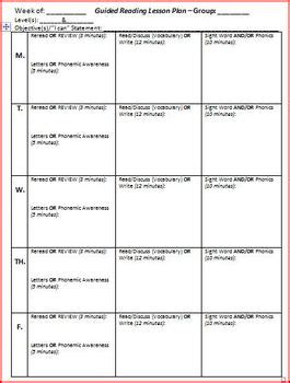 reading planning template guided reading lesson plan template 5 days by brittni