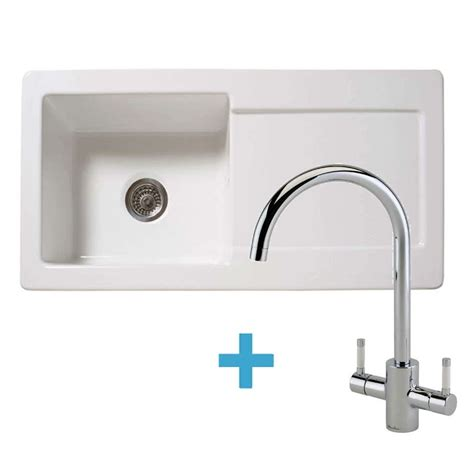 kitchen sinks taps reginox rl504cw ceramic sink genesis white tap pack