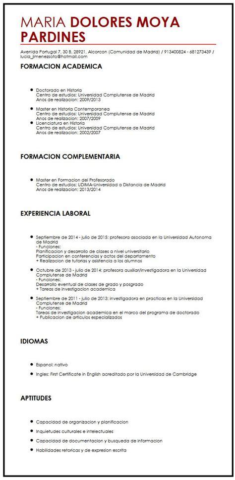 Modelo De Curriculum Sencillo En Ingles ejemplo de cv en ingles curriculum vitae builder