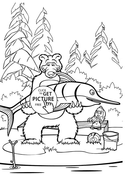 coloring pages masha and bear masha and bear fish coloring pages for kids printable free