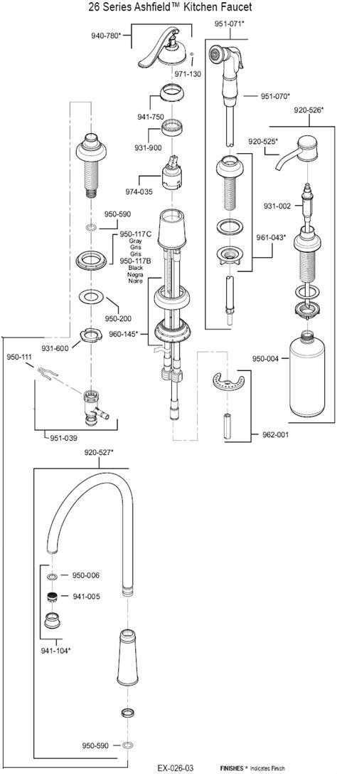 price pfister kitchen faucet parts diagram plumbingwarehouse price pfister repair parts for models 26 and t26 kitchen faucets