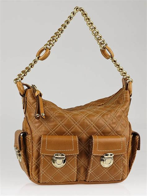 Marc Melinda Chain Hobo by Marc Brown Quilted Leather Multipocket Chain Hobo