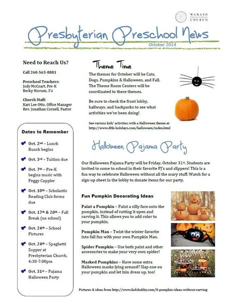 preschool newsletter october  wabash presbyterian