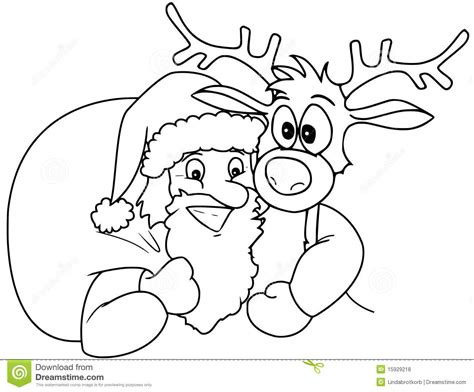 coloring pages of rudolph and santa santa and rudolph stock illustration image of roebuck
