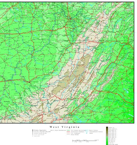 map of wv west virginia elevation map