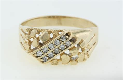 mens 14k yellow gold nugget 0 1 ct ring size 14 25