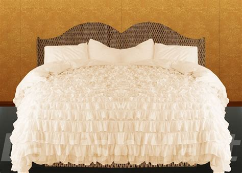 cream ruffle bedding egyptian cotton cream queen or full ruffle style duvet