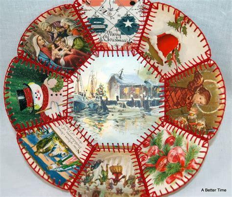 oh christmas string folk art vintage folk crafts card bowl c1960