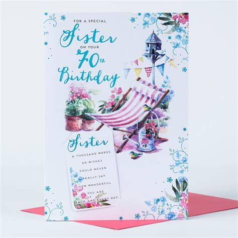 What To Write On 70th Birthday Card 70th Birthday Card Sister Deck Chair Only 163 1 49