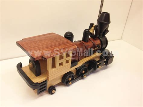 Handmade Steam Engine - handmade wooden home decorative novel vintage steam