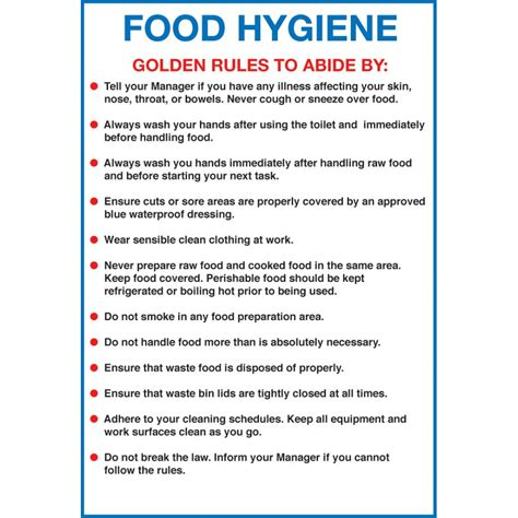Sanitation Guidelines For The Kitchen by Signs Labels Food Hygiene Golden To Abide By