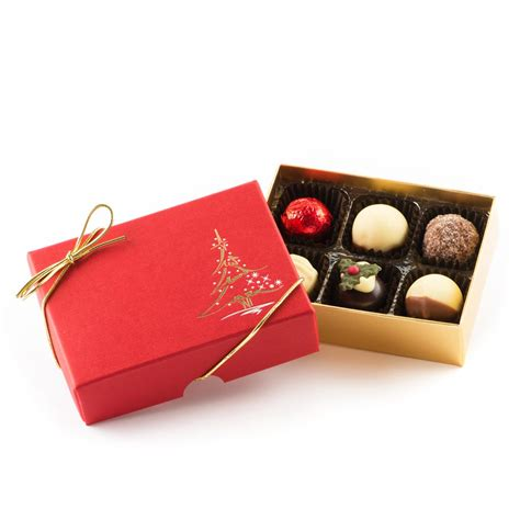 red christmas tree chocolate gift box 6 truffle