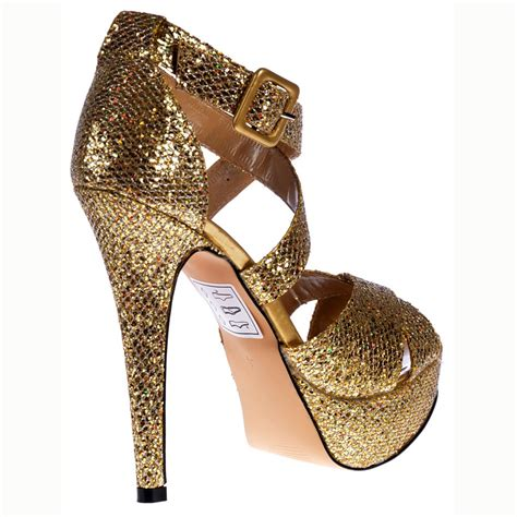 gold stiletto high heels shoekandi strappy glitter stiletto platform high heel