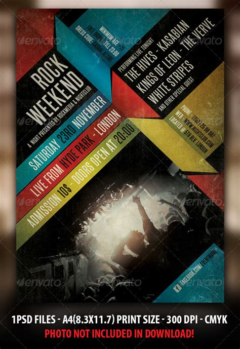 template flyer envato indie rock concert flyer poster graphicriver