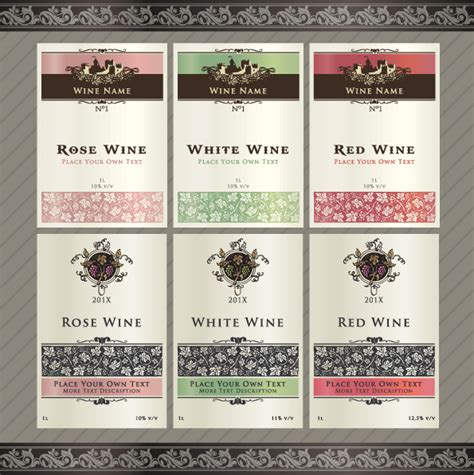 vintage elements of wine labels vector material 04