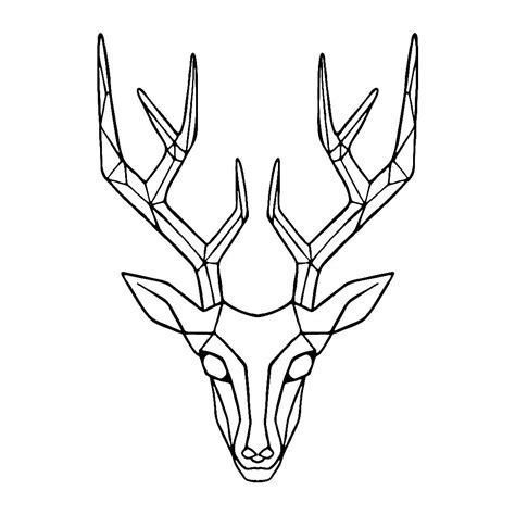 geometric deer head drawing clipartxtras