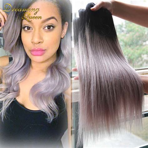camaflauge grey hair with ombre hot sale silver grey ombre human hair extensions 3 pcs 1b