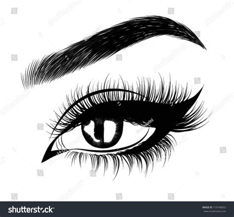 typography eye handdrawn womans arabic make eye perfectly stock vector