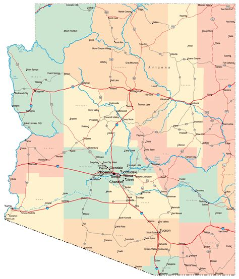 printable road map arizona detailed road map of arizona with cities arizona detailed