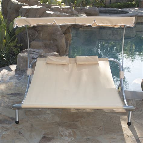 rosalie outdoor patio chaise lounge sunbed and canopy new hammock bed lounger chair pool chaise lounge