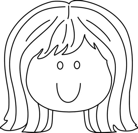 printable hair templates coloring pages of little girls face and hair www