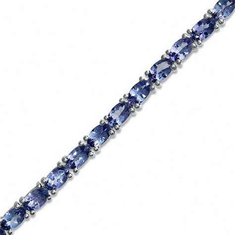 oval tanzanite tennis bracelet in sterling silver 7 25