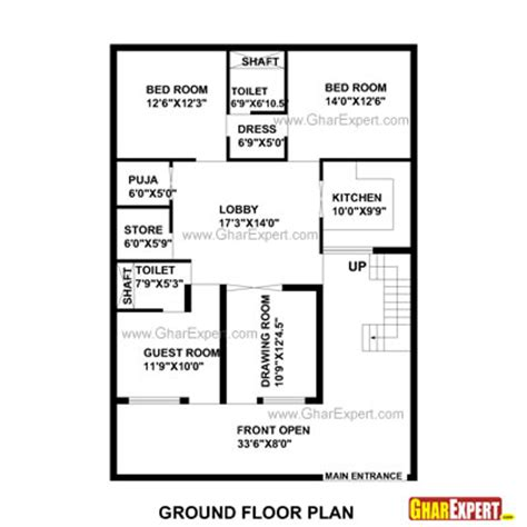 gaj into square feet house plan for 35 feet by 50 feet plot plot size 195