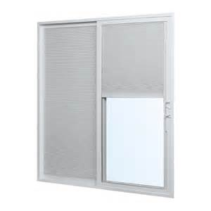Vinyl Sliding Glass Doors Shop Reliabilt 332 Series 70 75 In Blinds Between The Glass White Vinyl Sliding Patio Door At