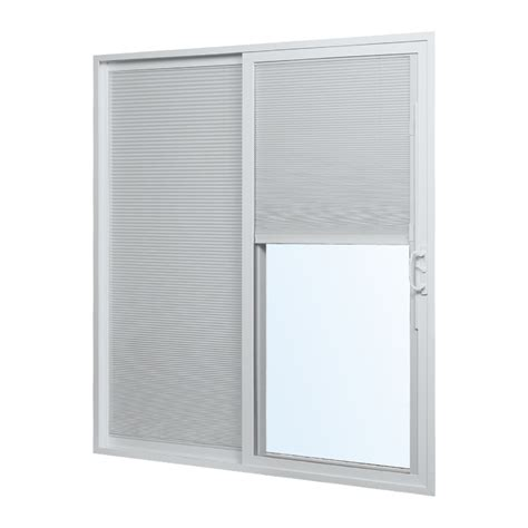 Lowes Blinds For Sliding Glass Doors Shop Reliabilt 300 Series 70 75 In Blinds Between The Glass Vinyl Sliding Patio Door At Lowes