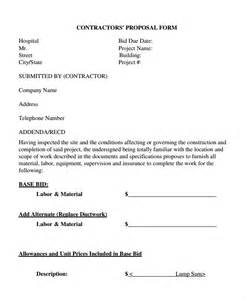 subcontractor bid form template contractor template 11 free word document
