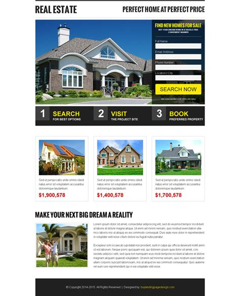 Free Landing Page Design Templates For Free Download Psd Html Real Estate Page Template