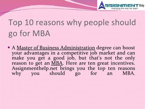 10 Reasons Why You Should Get An Mba by Assignment Help And Mba Trends In Current Markets
